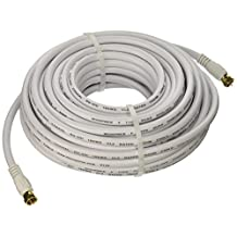 Monoprice 104061 50-Feet RG6 75Ohm Quad Shield CL2 Coaxial Cable with F-Type Connector, White