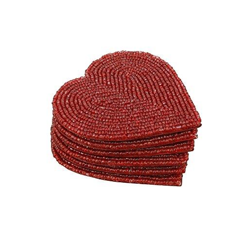 Handmade Beaded Heart Coaster Set With 6 Red, 4