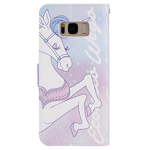 Funda Samsung Galaxy S8 Plus,SainCat Funda de Cuero PU Billetera Flip Case Cover Wallet sintético tipo Suave PU Carcasa Con Tapa y Cartera,Soporte Plegable,Estilo Libro,Ranuras para Tarjetas y Billete Unicornio