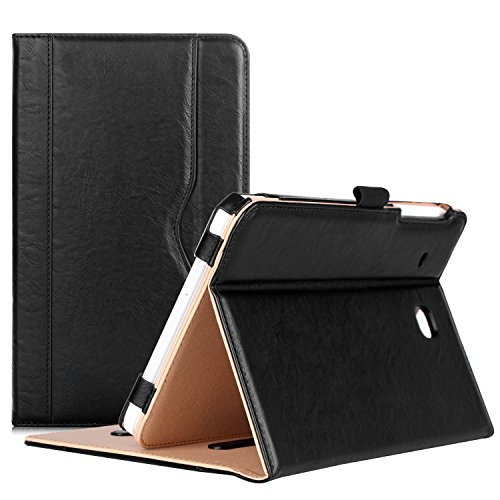 ProCase Samsung Galaxy Tab E 8.0 Case - Leather Stand Folio Case Cover for Galaxy Tab E 8.0 4G LTE Tablet (Sprint,US Cellular, Verizon, T-Mobile, ATT) SM-T377 (Black) (Folio 4 Inch Samsung Galaxy 8 Tab)
