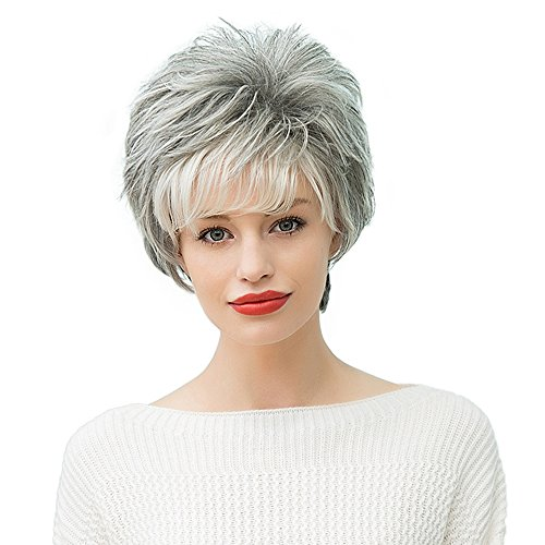 Mufly Curly Short Grey Brazilian Human Hair Fluffy Blend Capless Daily Wigs 10 Inches