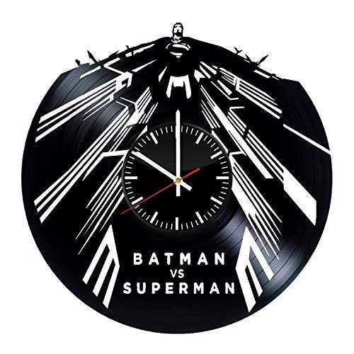 Batman vs Superman Vinyl Clock - DC Comics Dawn of Justice Best Original Birthday Idea - Vinyl Records Wall Art Room Decor Handmade Decoration Party Supplies - Vintage Modern Style