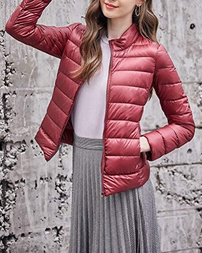 Doudoune Slim Manteaux Couleur Fit Rouge Femme Vin Et Léger Taille Hiver Unie Grande Mince PASqnaxgw6