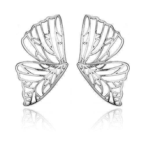 (Trendy Big Hollow Butterfly Drop Dangle Earring for Women Girls Metal Geometric Pendant Earrings (Silver))