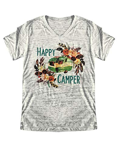 Dresswel Womens Causal Happy Camper Printed T-Shirt Camping Graphic Tees Grey