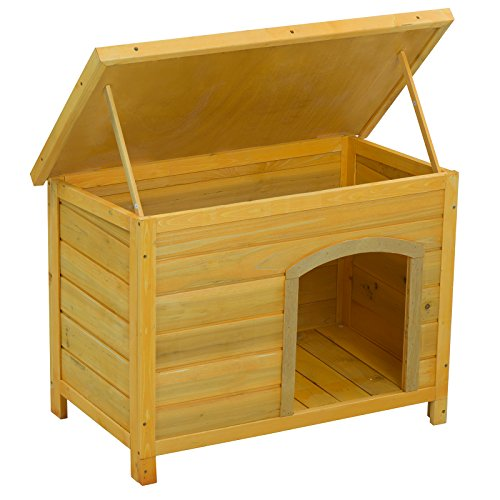 SUNCOO Fir Wooden Dog House Kennel Pet Puppy Home Indoor Outdoor Weather Resistant with Hinged Roof and Shelter 33x20x24 Inches - Cedar Dog House Package