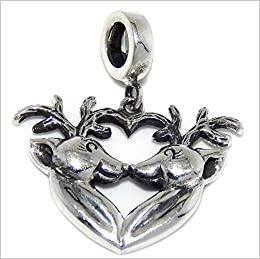 925 Sterling Silver Dangling Reindeer Touching Noses Charm Bead