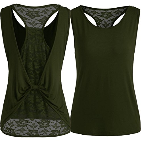 FEITONG Women Solid Sleeveless Tops Back Lace Knot Design Blouse T Shirt Tank Tops(Large,Green)