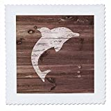 3dRose Russ Billington Nautical Designs - White Painted Dolphin on Brown Weatherboard- Not Real Wood - 20x20 inch quilt square (qs_261823_8)