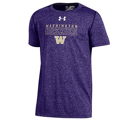 Under Armour NCAA Washington Huskies Boys Threadborne Short Sleeve Performance Tee, Large, Purple - Washington Huskies Ncaa Tee