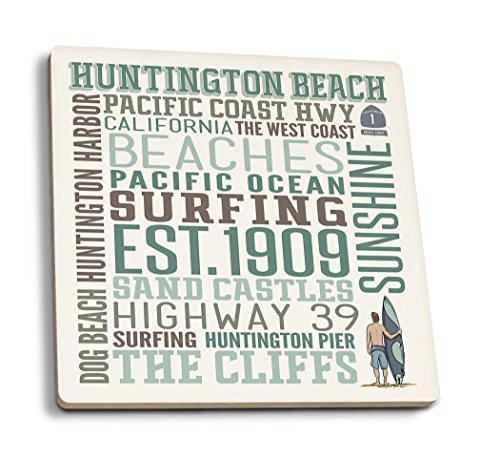 Lantern Press Huntington Beach, California - Typography (Set of 4 Ceramic Coasters - Cork-Backed, Absorbent) (Beach Coffee Huntington)