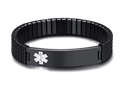 Free Engraving-Unisex Stainless Steel Medical Alert ID Stretch Allergy  Bracelet Men Women