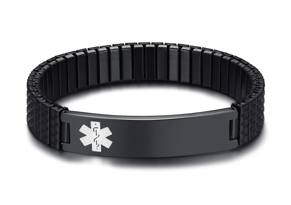 Free Engraving- Men's Stylish Stainless Steel Black Stretch Medical Alert ID Bracelets for Men Boy