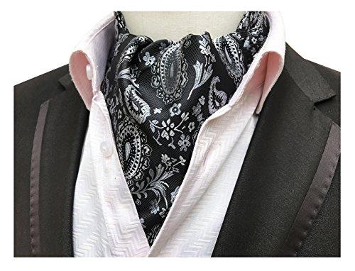 Elfeves Men's Black Sliver Floral Silk Cravat Ties Casual Ascot Classic Present