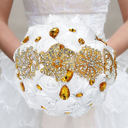 Gold Bouquet - Decdeal Bridal Bouquet, Roses Flowers Crystal Pearl Wedding Bouquet (Gold Type(18x25cm))