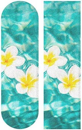 MNSRUU Tropical Zen Plumeria Flower in Türkis Water Skateboard Grip Tape Sheet Scooter Deck Sandpapier 22,9 x 83,8 cm