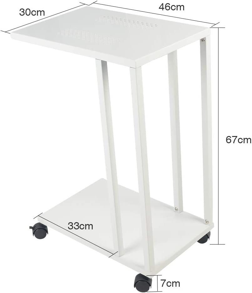 H JINHUI C Shaped Side End Table,Mobile Sofa/Living Room Small Side Table, Snack/Coffee/Laptop Table,That Slide Under for Small Spaces,with Lockable Wheels (Black) White