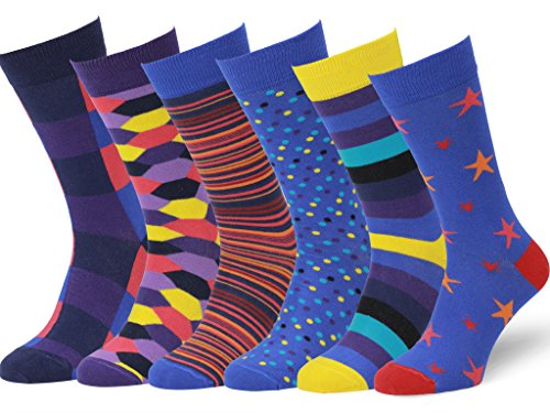 - Easton Marlowe Mens - 6 PACK - Colorful Patterned Dress socks - 6pk #7, mixed - bright colors, 43-46 EU shoe size