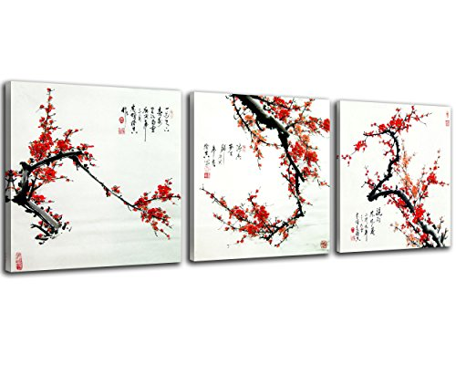 NAN Wind Small Size Traditional Chinese Painting of Plum Blossom Canvas Prints 3 Panels Wood Framed Red Plum Blossom Wall Art Plum Flowers Print Painting 30x30cm Each Panel