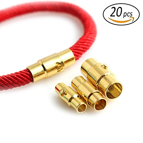 REVEW 20sets Leather Cord End Cap/Magnetic Clasp with Locking Mechanism leather rope bracelet buckle gold (3mm) (Gold End Caps)