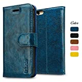 iPhone 6S Case, iPhone 6S Wallet Leather Case, Labato Genuine Leather Case Flip Folio with Card Slots/Cash Compartment Magnetic Cover for Apple iPhone 6/6S Cases Blue Lbt-I6S-07Z46