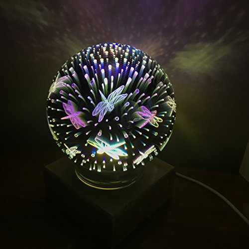3D Fireworks Night Light, Tmore Glass Lamp Magical Crystal Ball USB Power Starry Decorative Lamp Colorful Sphere Table Light (Butterfly) by Tmore (Image #6)