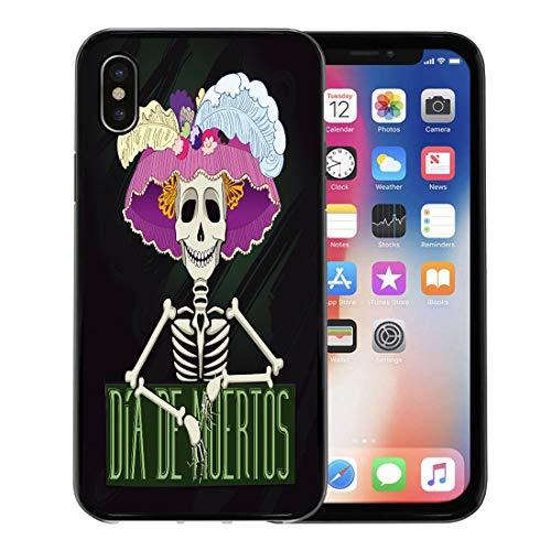 Semtomn Phone Case for Apple iPhone Xs case,Day of Catrina Dia De Muertos The Dead Fiesta Spanish Bone Carnival for iPhone X Case,Rubber Border Protective Case,Black -