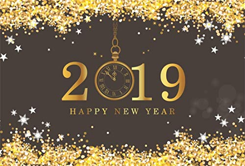 (Yeele 6x4ft New Year Photography Background Retro Clock Dial Pattern Number 2019 Countdown Gold Plating Golden Dots Backpack Happy New Year Photo Backdrops Pictures Photoshoot)