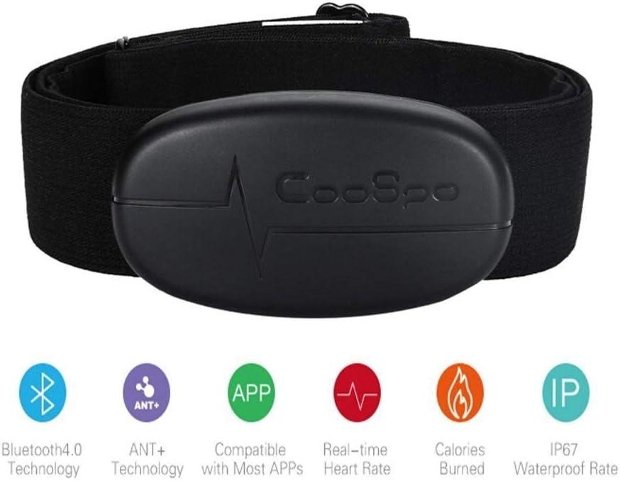 Onlyesh CooSpo H6 Modo Dual Bluetooth & Ant + Heart Rate Monitor/Bluetooth V4.0 inalámbrico Sport pulsómetro Pecho cinturón Monitor, Color Negro