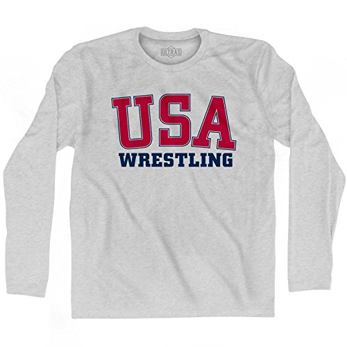 Ultras USA Wrestling Long Sleeve T-Shirt, Grey Heather, Adult X-Large by Ultras