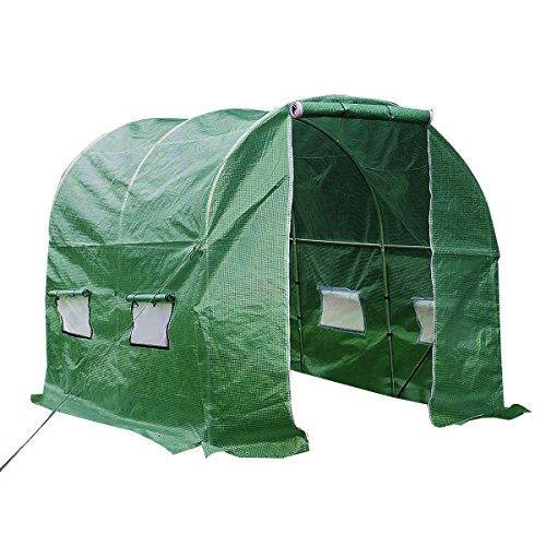 Green House 10'x7'x7' Larger Heavy Duty Greenhouse Walk In Tunnel Outdoor - Frames Glasses Vs Plastic Metal