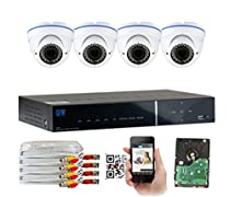 GW Security 4 Channel High Resolution CCTV 1300TVL 1.3MP 720p Weatherproof HDMI Security DVR System (4 Camera System)
