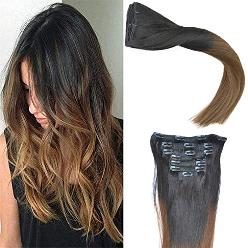 KOCONI 16 inch Clip in Hair Extensions Remy Human Hair Balayage Natural Black 1B to Dark Brown Highlights Hair Extensions Clip in Human Hair Extensions Clip on Real Human Hair