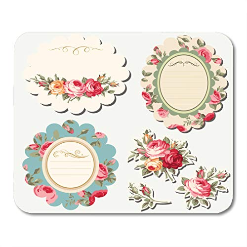 Classic Antique Gold Leaf - Emvency Mouse Pads Bloom Pink Antique Floral Frames with Vintage Roses Baroque Blossom Mouse Pad 9.5
