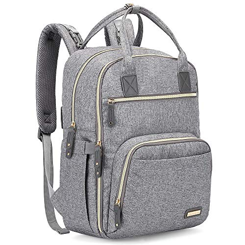 Diaper Bag Backpack, iniuniu Large Unisex Baby Bags Multifunction Travel Back Pack for Mom and Dad with Changing Pad and Stroller Straps, Gray (Best Travel Diaper Backpack)