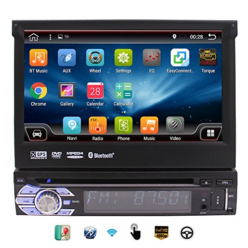 EinCar Car Stereo with Android 6.0 OS 2G RAM Single 1 Din 7'' HD Touchscreen Car DVD Player In Dash GPS Navigation Auto Radio Receiver Support Video - Map Square One Stores
