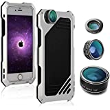 JINGANGYU For iPhone 6/6 Plus/6S/6S Plus/7/7 Plus Phone Case Screen Protector Shockproof Waterproof Dustproof High Impact Aluminum Alloy Case With 3 Separated Camera Lens Kit (7 Sliver)