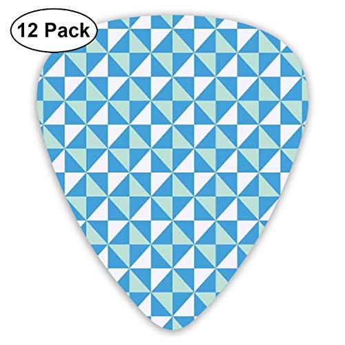 - Guitar Picks 12-Pack,Grid Tile Triangles With Squares Contemporary Style Arrangement In Blue