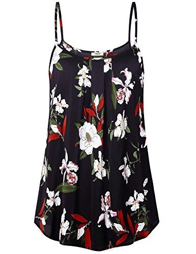 Timeson Women Camisole Tanks, Women's Spaghetti Strap Pleated Chiffon Layered Cami Tank Top Sleeveless Floral Blouses Tunics Shirt Multicolor Black X-Large ()