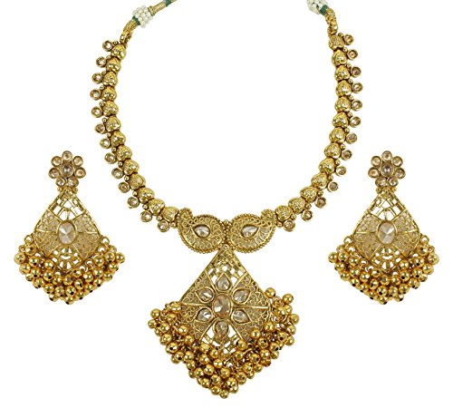 MUCHMORE Beautiful Desgineer Bollywood Indian Gold Plated Awesome Traditional Polki Set (Traditional Indian Gold Jewelry)