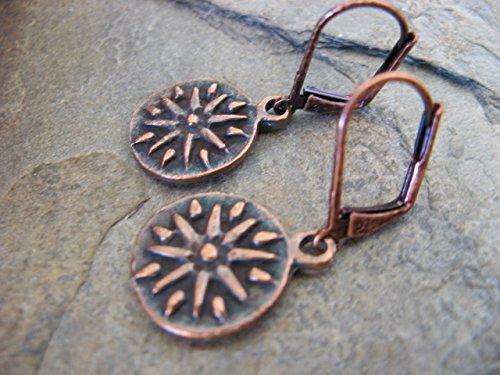 Copper Plated Sun Medallion Leverback Earrings