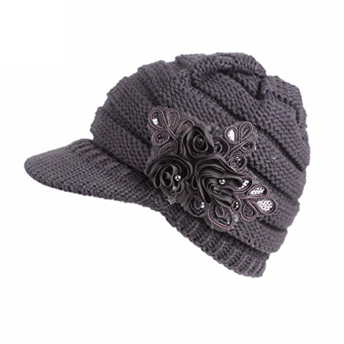 19f681a62e7 Women Ladies Winter Knitting Hat Warm Artificial Wool Snow Ski Caps With  Visor (Gray)