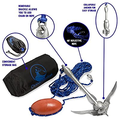 OceanMotion Canoe, John Boat, Kayak Anchor Kit With 40 ft. Reflective Rope, Buoy, Storage Bag ~ Foldable, Ideal for Fishing, Also Great for Personal Watercraft ~ Durable & Corrosion Resistant by