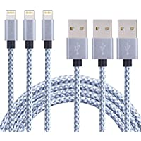 ONSON iPhone Cable,3Pack 3FT Nylon Braided iPhone Cord Lightning Cable Certified to USB Charging Charger for iPhone 7/7 Plus/6/6S/6 Plus/6S Plus/5/5S/5C/SE,iPad,iPod 7 (Gray White,3FT)