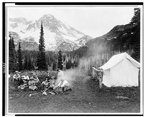 Photography Poster - [Camping party of men and women cooking at campfire and eating near tent in Indian Henry, Mt. Rainier National Park, Wash, Gloss finish, 24