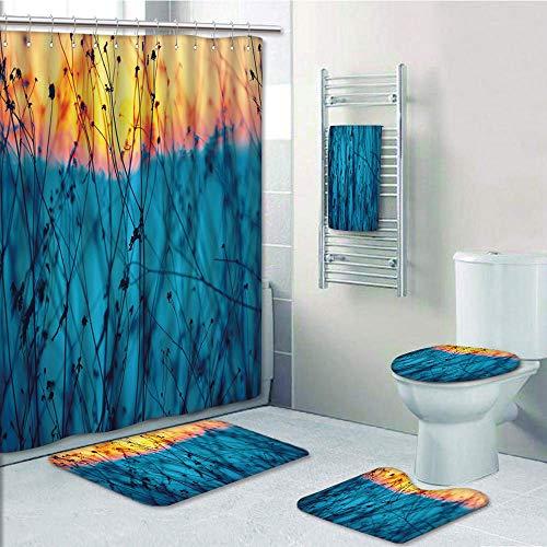 Bathroom Fashion 5 Piece Set shower curtain 3d print,Nature,Dried Flowers Twigs Tranquil Sunset Scenery Agriculture Autumn Field,Light Blue Peach Orange,Bath Mat,Bathroom Carpet Rug,Non-Slip,Bath Towl