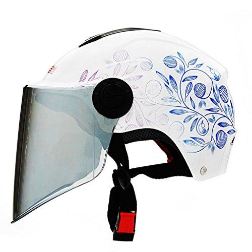 Cascos de Motocicleta Hombres y Mujeres de Media Cobertura de de Kart de Moto Medio (Color : Blanco, Size : 60-62cm)