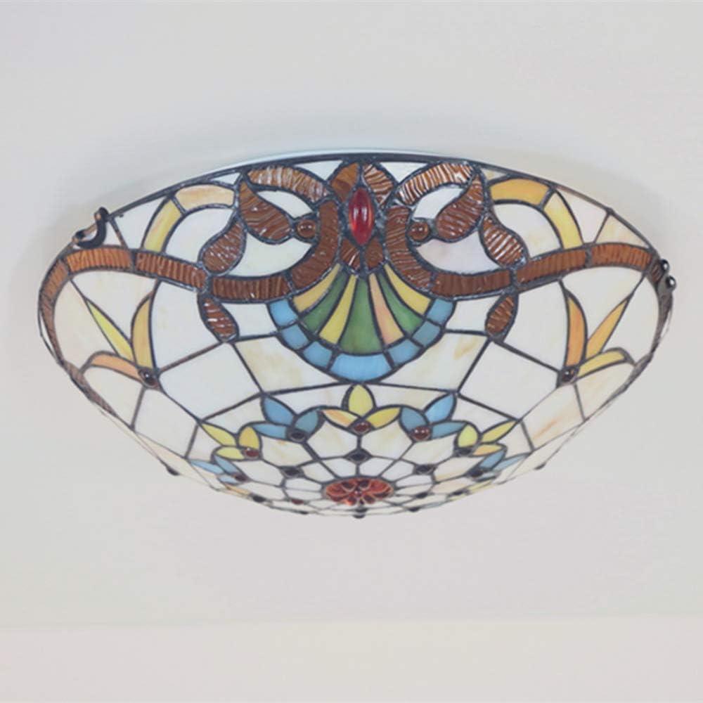 WMING Tiffany lámpara de Mesa mesita de Noche Dormitorio lámpara de Mesa barroca Retro Creativo salón Restaurante Hotel lámpara de Mesa vidrieras Decorativas iluminación Interior E27 MAX.40 W,A J