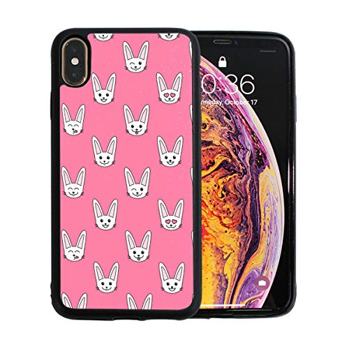Rabbits White Bunny Pink Case for iPhone Xs 6.5-Inch Max Soft TPU Thin Cover Shock-Absorption Bumper Cover ()