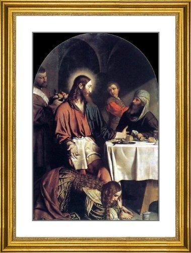 "Moretto Da Brescia Supper in the House of Simon Pharisee - 21.5"" x 26.5"" Matted Framed Premium Archival Print"